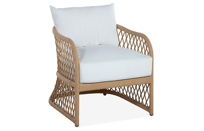 Carmel Woven Lounge Chair, White