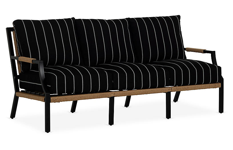 Harper Sofa, Black/White Stripe