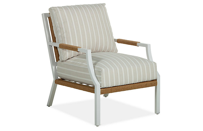 Harper Lounge Chair, Taupe/White