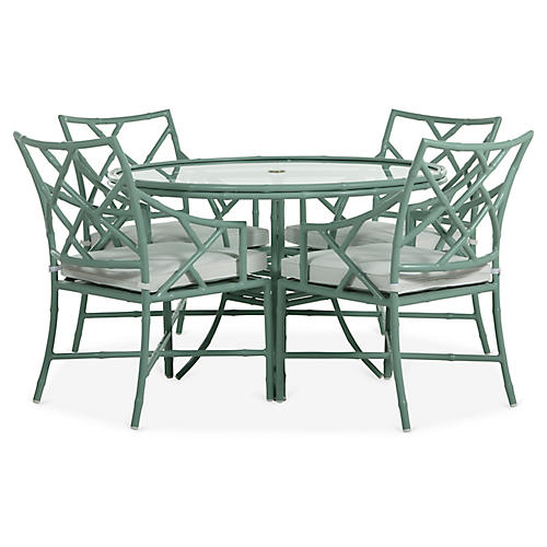 Kit 5-Pc Dining Set, Sage/White