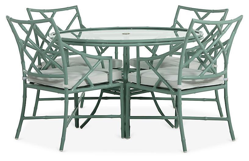 Kit 5-Pc Dining Set, Celadon/White