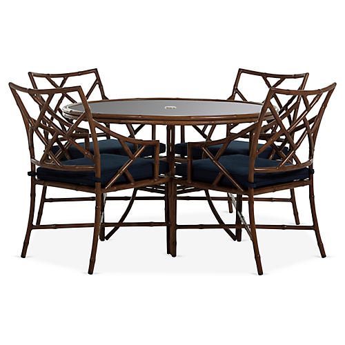 Kit 5-Pc Dining Set, Sandalwood/Navy