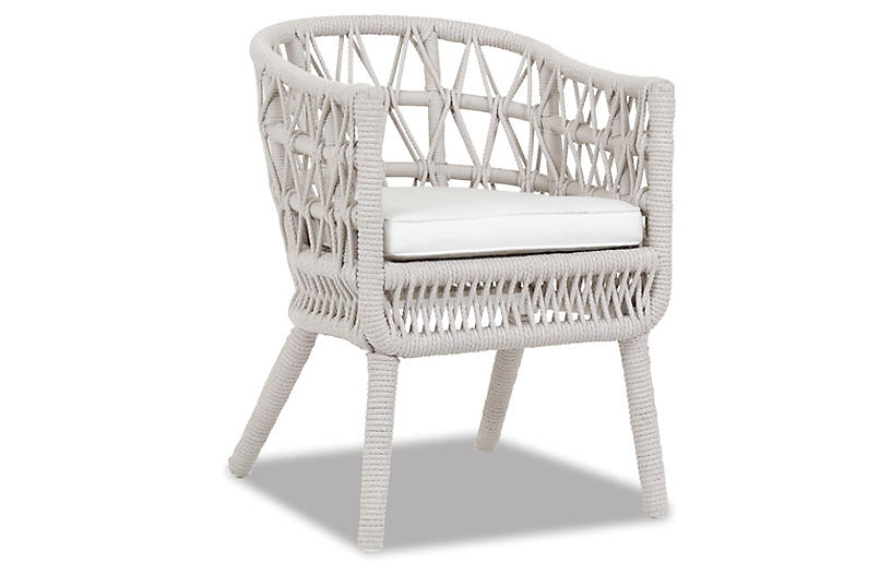 Farah Outdoor Dining Chair, Flax Rope