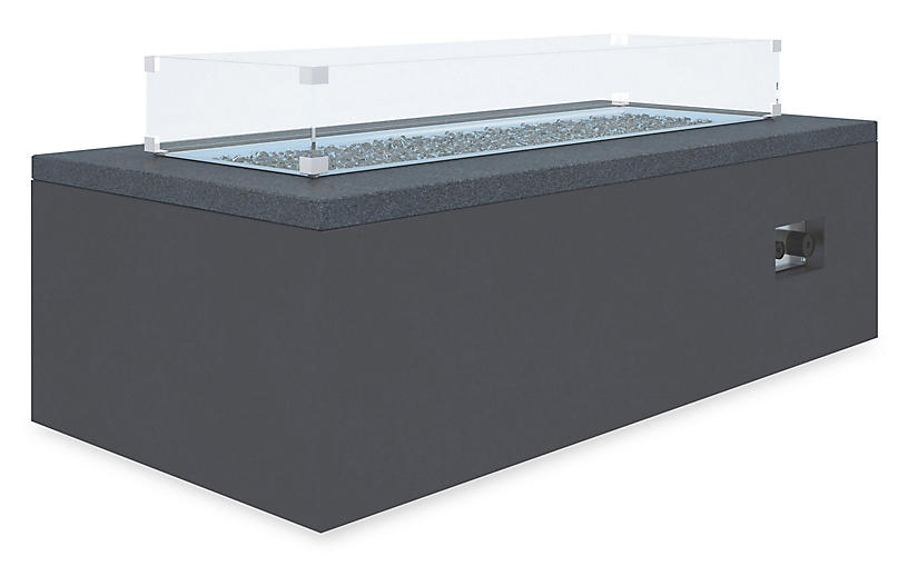 Rectangular Granite Fire Table, Black