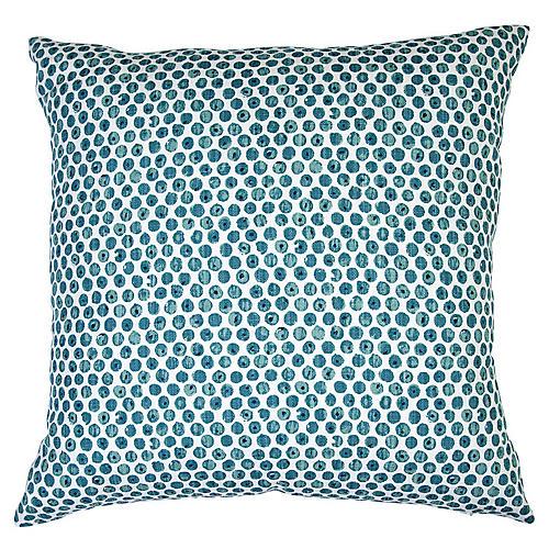 Dot 26x26 Euro Pillow, Blue/White