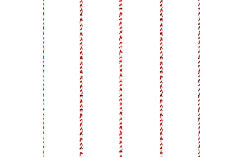 Baseball Stitch Wallpaper, Red/White