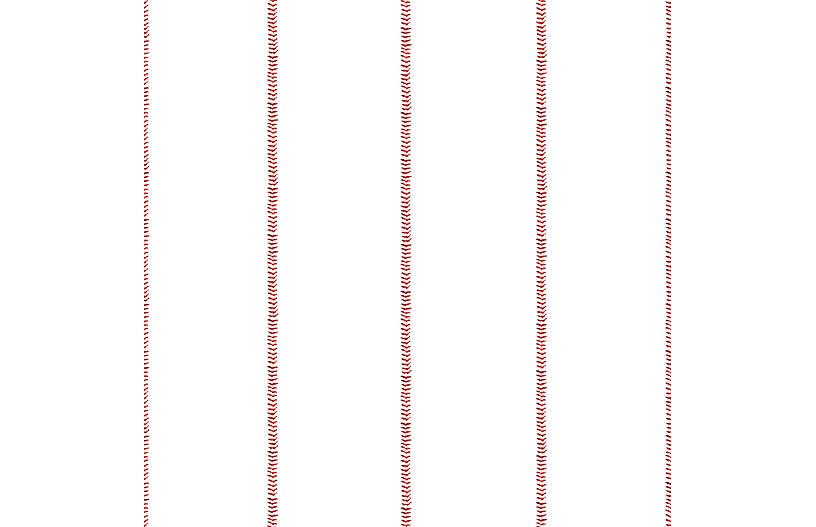 Baseball Stitch Wallpaper, Red/White
