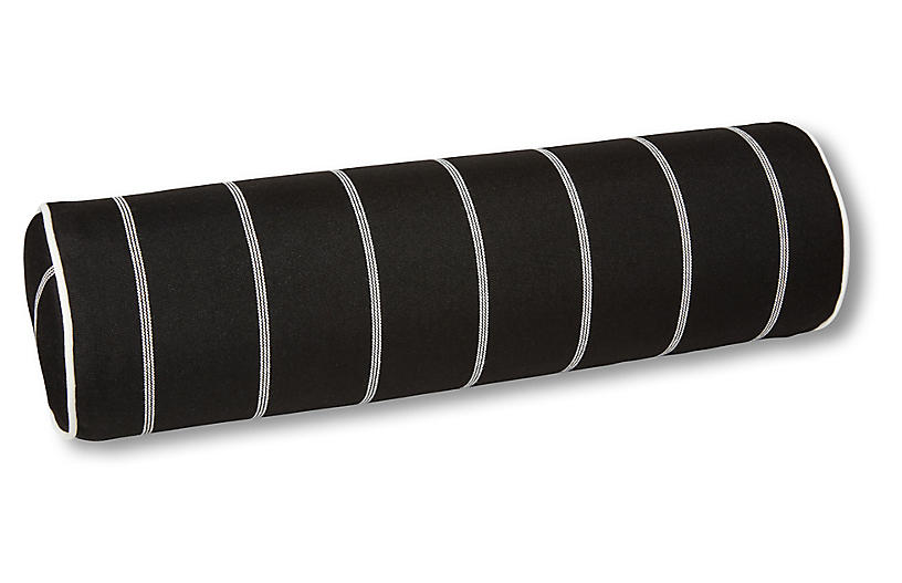 Frances 25x8 Bolster Pillow, Black/White