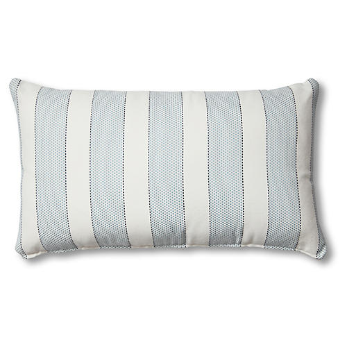 Carmel 14x24 Outdoor Lumbar Pillow, Blue/White Stripe