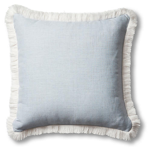 Carmel Outdoor Fringe Pillow, Chambray/White