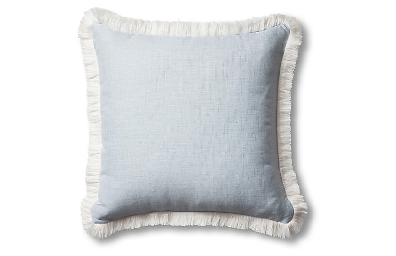 Carmel Fringe Pillow, Chambray/White