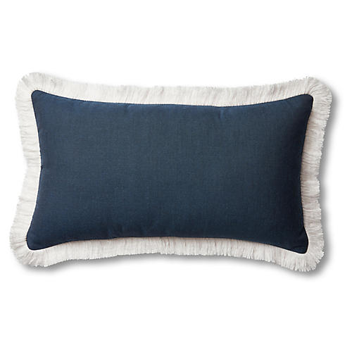 Highland 14x24 Outdoor Fringe Pillow, Navy/White
