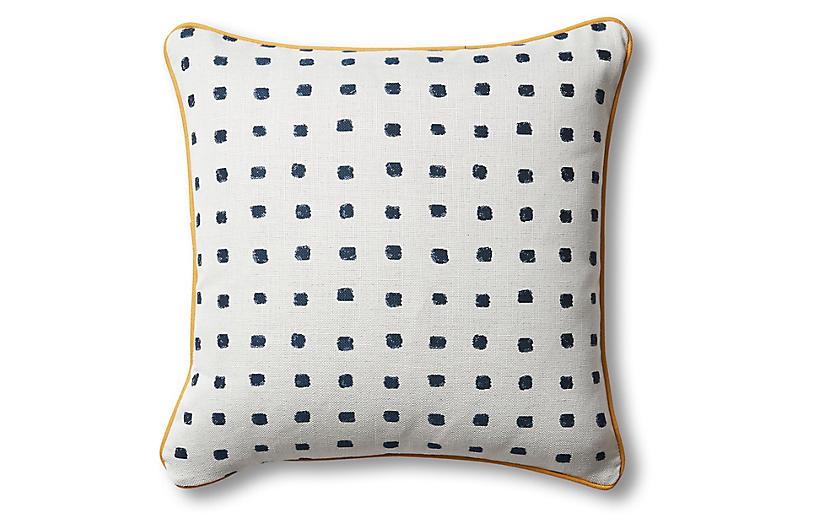 Kit Pillow, Cobalt/White/Mustard