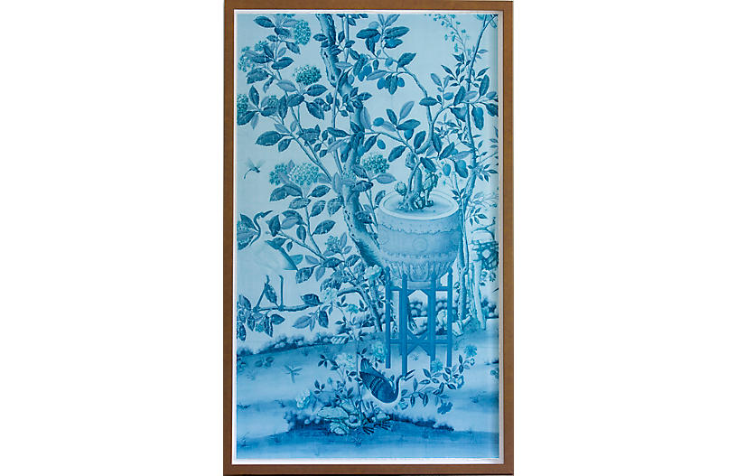 Dawn Wolfe, Blue Vase Chinoiserie Panel