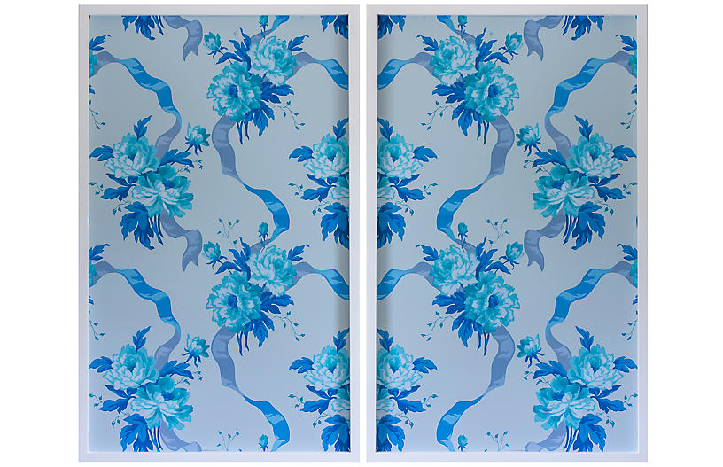 Dawn Wolfe, Blue Rose Vintage Wallpaper Diptych