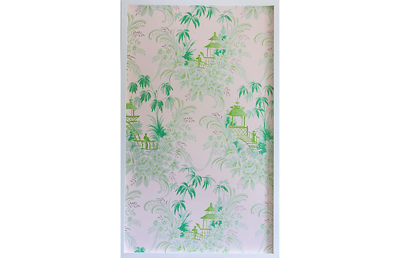 Dawn Wolfe, Pale Green Pagoda Wallpaper Panel