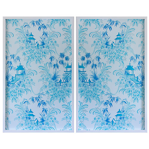 Dawn Wolfe, Pale Blue Pagoda Wallpaper Diptych