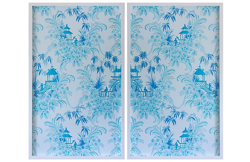 Dawn Wolfe, Pale Blue Pagoda Wallpaper Diptych