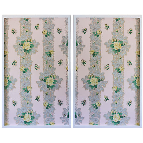 Dawn Wolfe, Yellow Roses on Pink Wallpaper Diptych