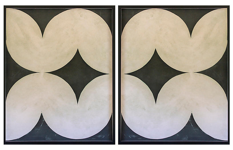 Dawn Wolfe, Black Wave Abstract Diptych