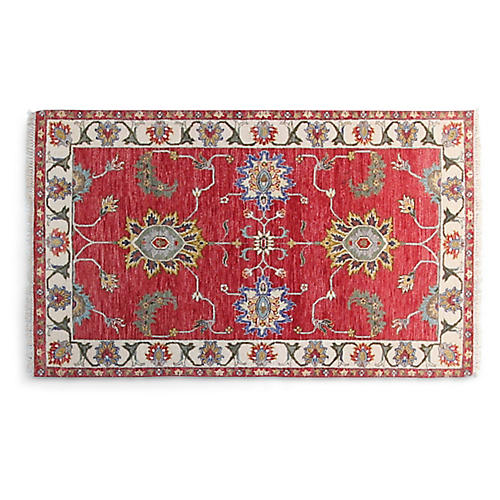 4'x6' Agra Hand-Knotted Rug, Red/Ivory