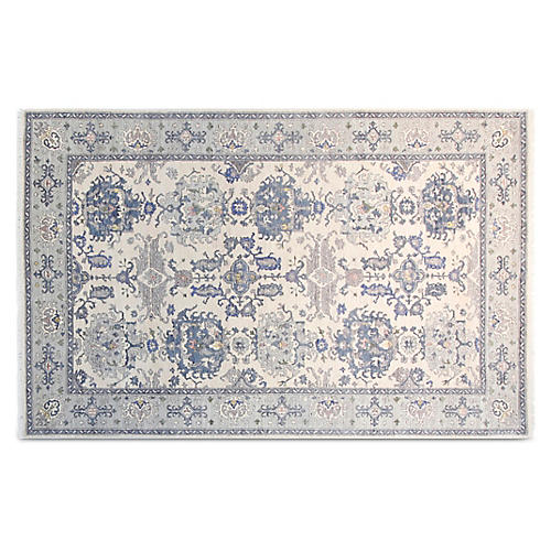 """5'6""""x8'6"""" Mansur Hand-Knotted Rug, Ivory/Blue"""