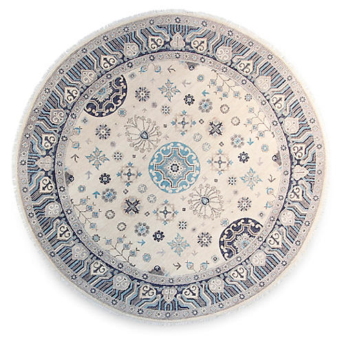 8' Breda Round Hand-Knotted Rug, Ivory/Multi
