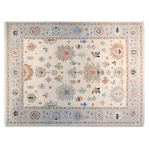 9'x12' Artur Hand-Knotted Rug, Ivory/Light Blue