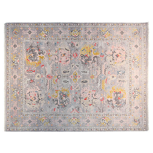 9'x12' Sophea Hand-Knotted Rug, Gray/Rose