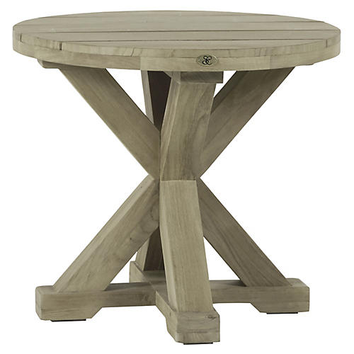 Modena Outdoor Side Table, Oyster Teak
