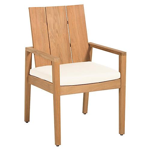 Ashland Outdoor Armchair, Natural Teak