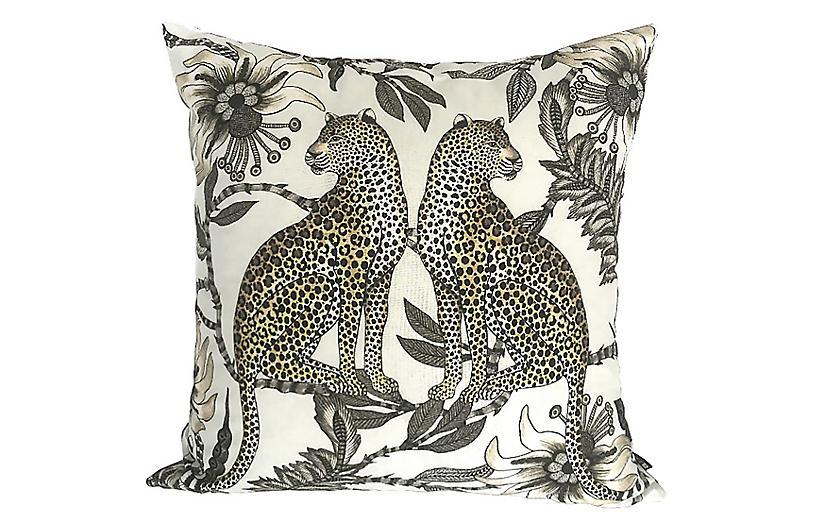 Leopard 20x20 Silk Pillow, Cream / Multi