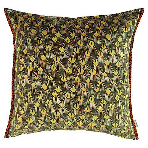 Feather 24x24 Pillow, Green/Multi Velvet