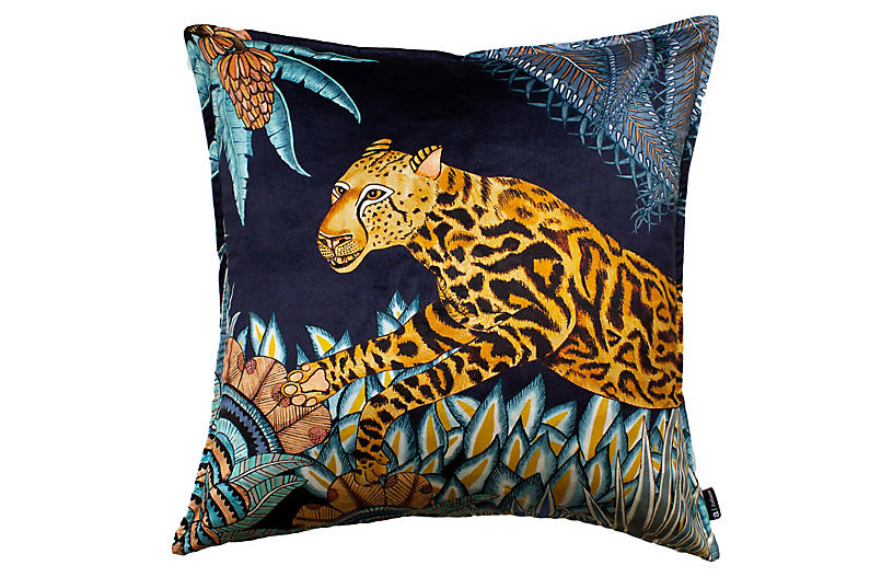 Cheetah Kings 24x24 Pillow, Tanzanite Velvet