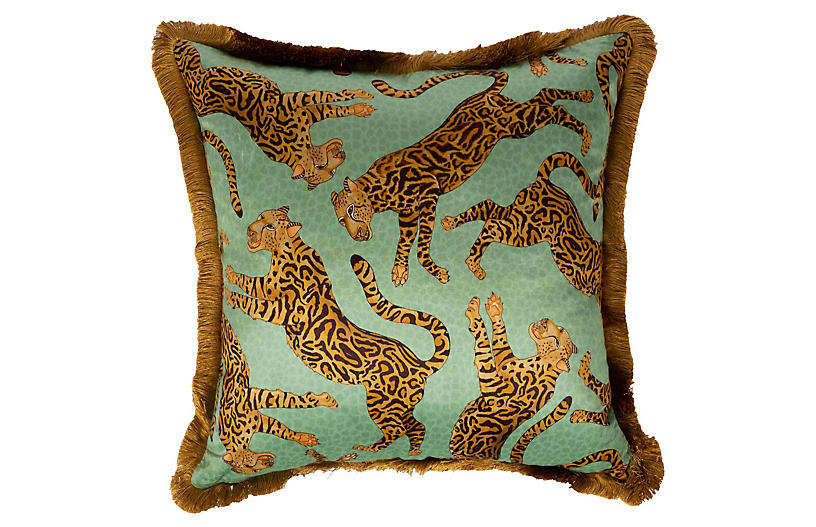 Cheetah Kings 24x24 Pillow, Jade Velvet