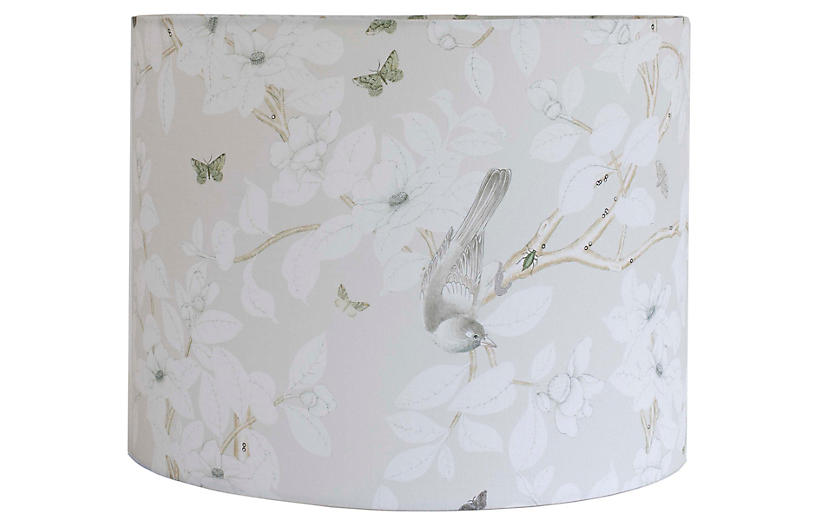 Chinoiserie Lampshade, Gray Linen