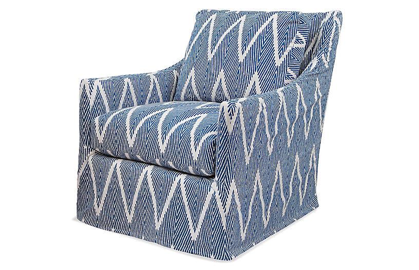 Oliver Swivel Glider Chair, Navy/White