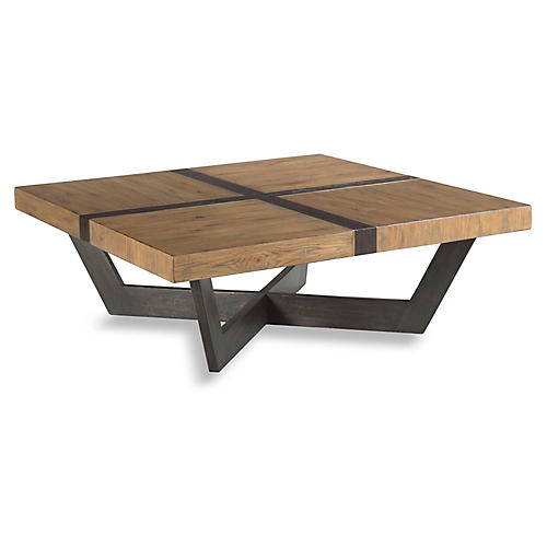 Quarter Coffee Table, Antique Brown/Brass