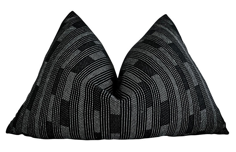 Monaco 25x16 Lumbar Pillow, Black/White