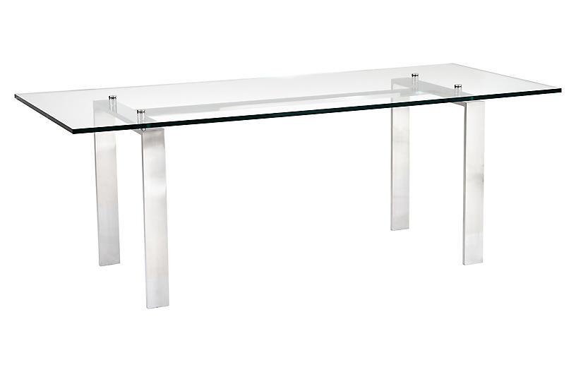 Langham Desk, Silver/Clear