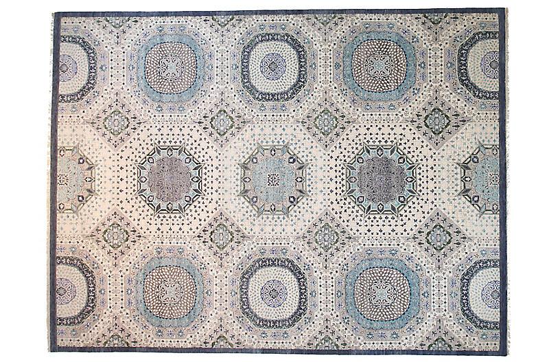9'x12' Sari Mamluk Rug, Ivory/Blue
