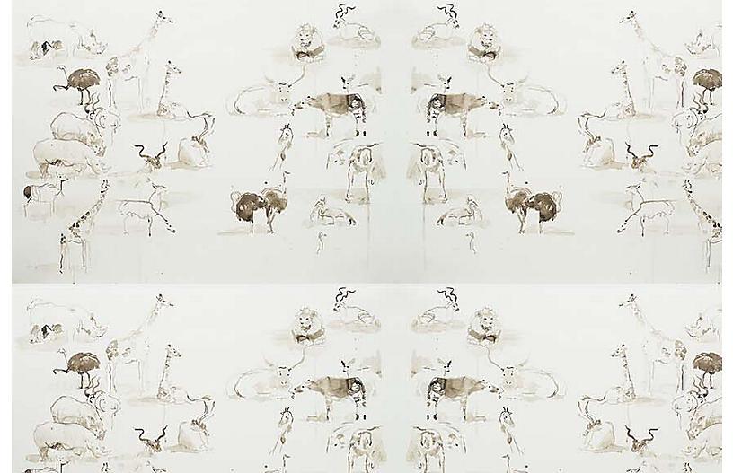 Mary H. Case Med. Animals Wallpaper, Multi