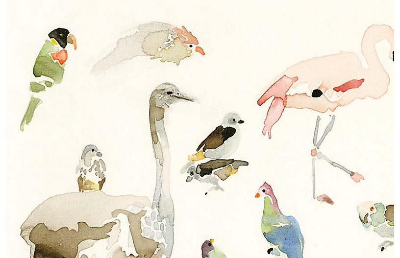 Mary H. Case Lg. Bird Chart Wallpaper, Multi