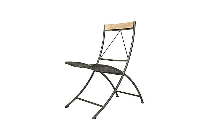 Vista Outdoor Dining Chair, Iron/Teak
