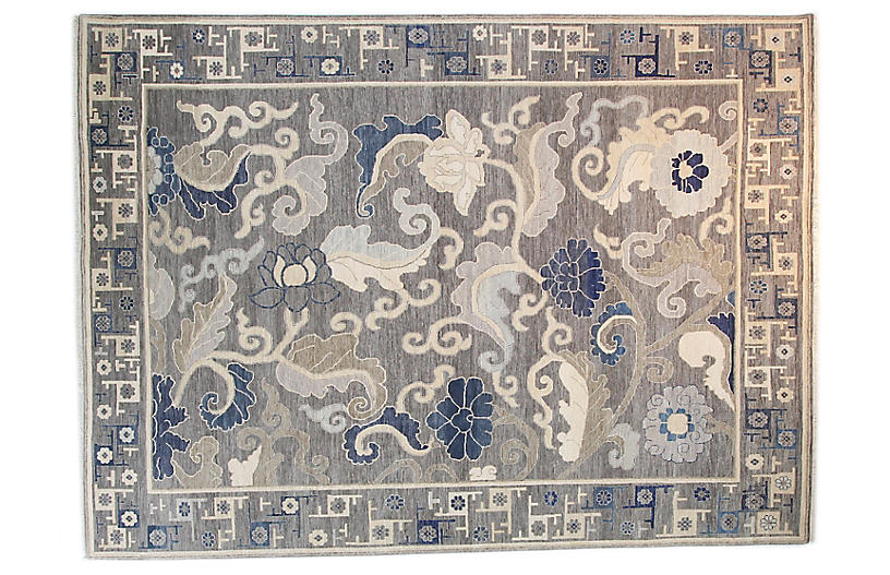 9'x12' Sari Wool Hampton Rug, Gray