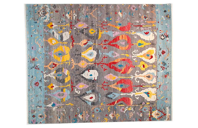 12'x15' Sari Wool Ikat Rug, Gray/Aqua