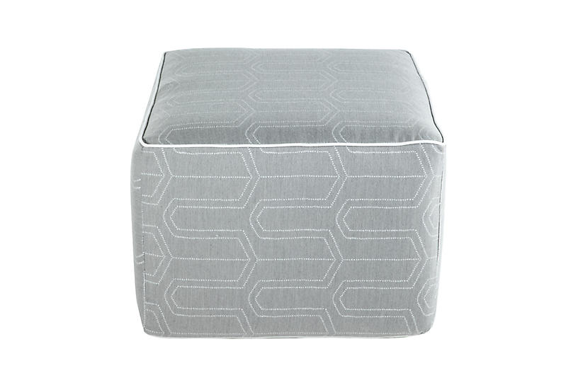 Lola Square Pouf, Dotted Geo Slate