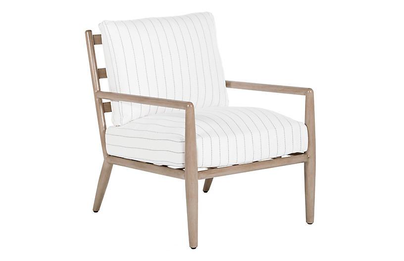 Siena Lounge Chair, White/Charcoal Stripe