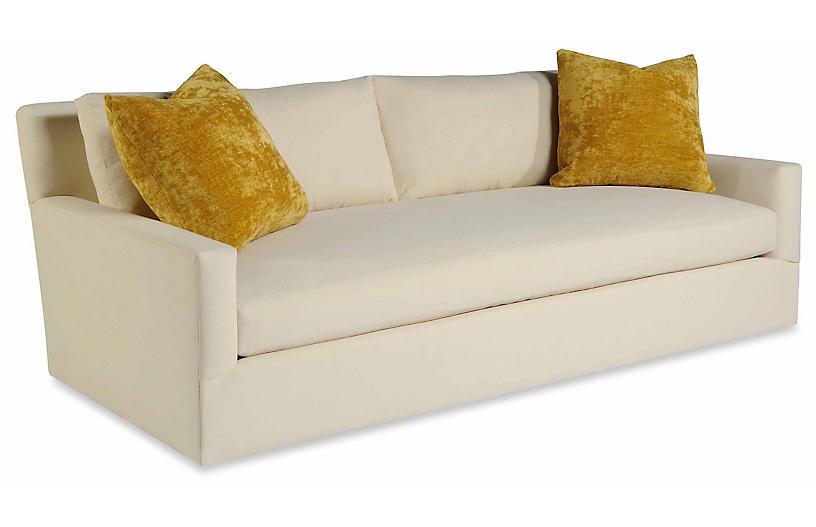 Gentleman Sofa, White Linen