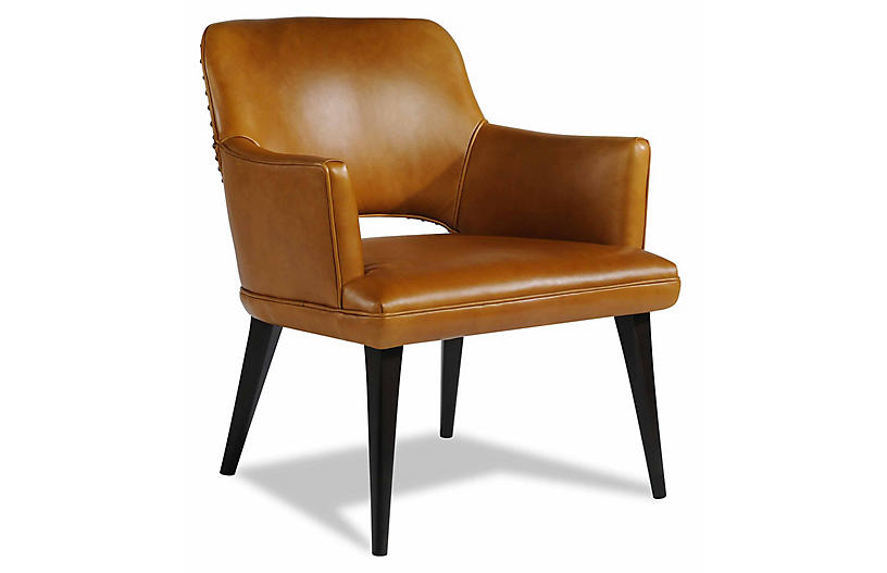 Theory Leather Chair, Brown